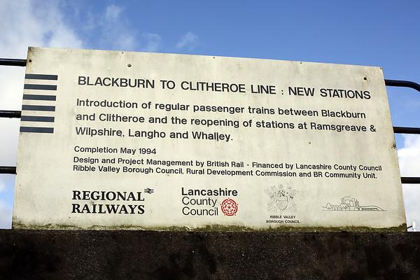 Blackburn to Clitheroe line reopening sign, Langho 27/2/2014
