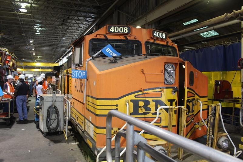BNSF Locomotive No. 4008 (GE C44-9W) at Lincoln Diesel shop, Lincoln NE