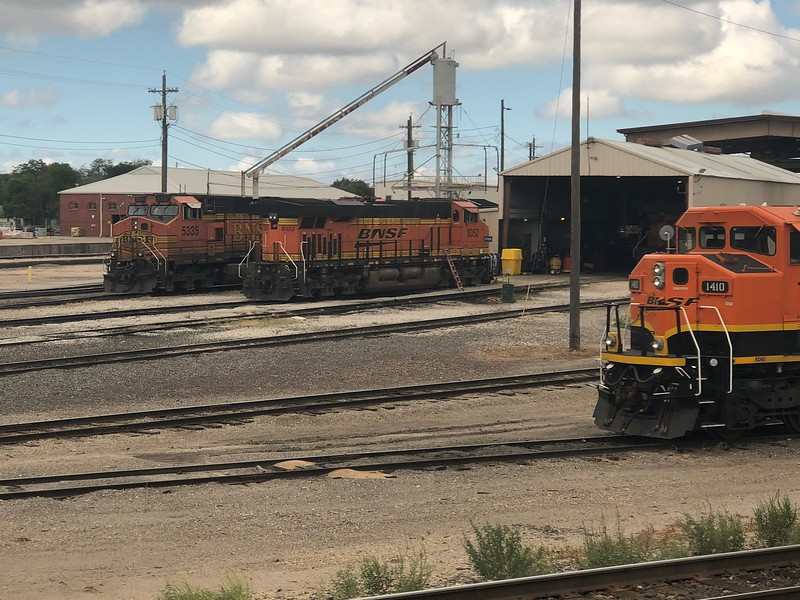 BNSF Locomotives No. 5335, 8352 and 1410 at Temple workshop, TX