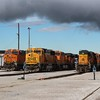 BNSF Locomotives line up for the Lincoln Diesel shop, Lincoln NE