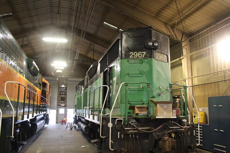 BNSF Locomotive No. 2967 (EMD GP39V) at Lincoln Diesel shop, Lincoln NE