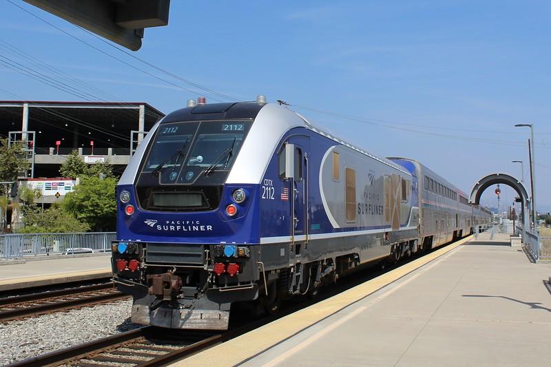 Amtrak Siemens SC-44 Locomotive No.2112 departing Hollywood Burbank Airport Station