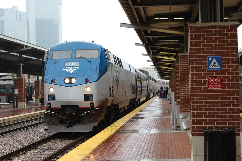 Amtrak GE P42DC Locomotive No.199 (s/n 53055) arriving Fort Worth Intermodal Transportation Center