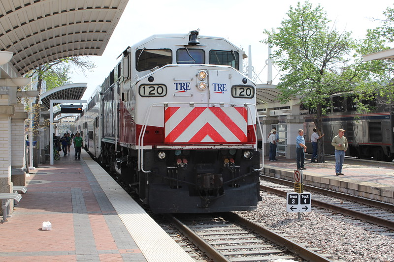 Trinity Railway Express (TRE) EMD F59PH Locomotive No. 120 at Dallas Union Station