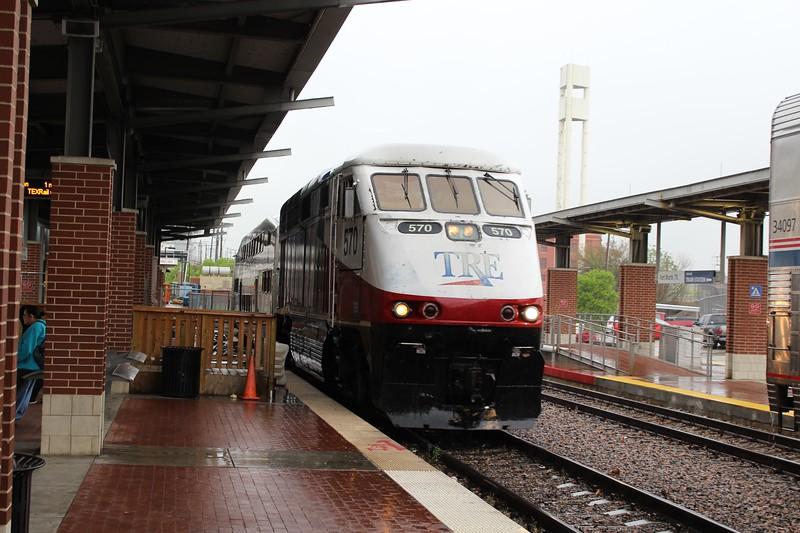 Trinity Railway Express (TRE) EMD F59PH Locomotive No. 570 at Fort Worth Intermodal Transportation Center station