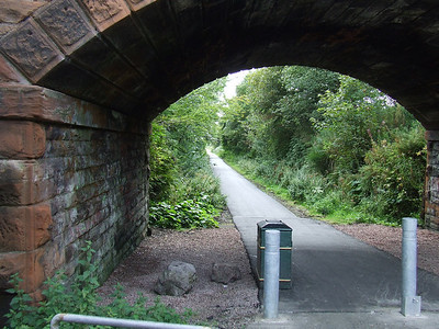 Looking east along the trackbed towards Bridge Of Weir from the location of Kilmacolm station.