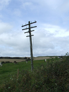 Abandoned semaphore period telegraph pole to the East of Upper Port Glasgow, looking West towards Port Glasgow.