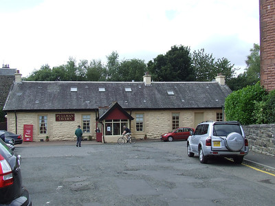 Kilmacolm Station, now the Pullman Tavern, showing the car park and station buildings.