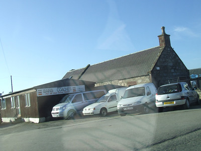 Station buildings at Old Meldrum, still intact. Sight now used as a bus garage. Looking west.