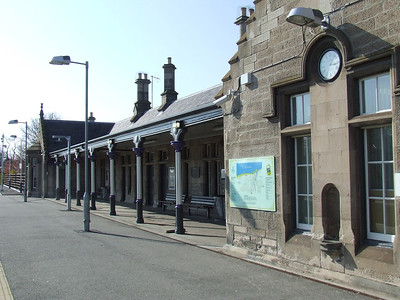 Nairn Station buildings as seen from the station car park