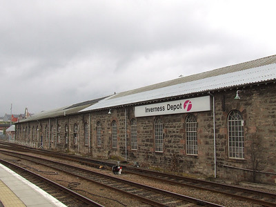 Inverness Depot, Inverness Station. This is the former Lochgorm Locomotive Works of the Highland Railway