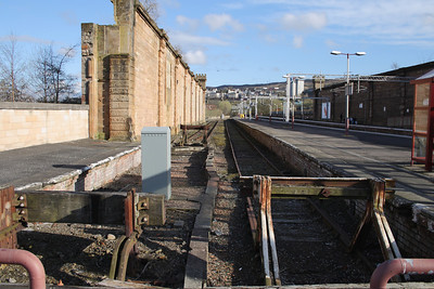Looking along the bay platforms at Greenock Central. For many years there was a fitted goods van that sat here, and now the only thing that sits in here are departmental vehicles that are stabled whenever there is any infrastructure work to be done