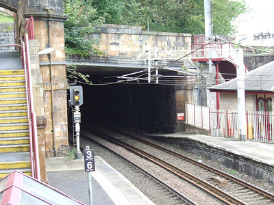 The tunnel at Greenock Central that was dug out to form part of the Gourock extension by the Caledonian Railway. Looking West.