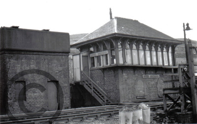 Upper Greenock Signal Box at Upper Greenock Station. The signal box controlled access to the station from the double to the single line section. The signal box continued in use until closed in November 1966 when the new Paisley Signal Power Box opened.