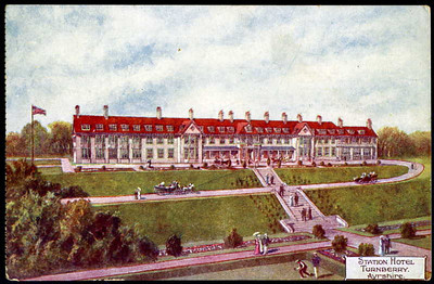 Postcard of Turnberry Hotel issued by Glasgow & South Western Railway.  The hotel, famous for the golf course that is part of the site, was built in association with the Maiden and Dunure, and was constructed by the Glasgow & South Western Railway. The station itself was opened in 1906 and closed in 1930. It was re-opened in 1932 and closed in 1942. The line itself closed to all traffic in 1955. Turnberry station site has been incorporated into the grounds of Turnberry Hotel.