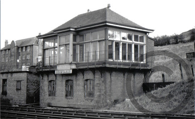 Berryards Signal Box at Upper Greenock Station, which controlled access to the Berryards Goods Yard at the station which also served the Westburn sugar refinery. The signal box continued in use until closed in November 1966 when the new Paisley Signal Power Box opened.