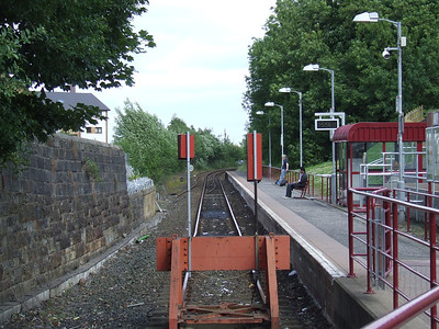Paisley Canal Station, the current version of the railway station. The Platform is built on what was the trackbed of the Paisley Canal Line