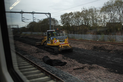Work being undertaken as Arkleston in Paisley as part of the quadrupling of the tracks here. Preparatory being undertaken on thetrackbed for re-laying the centre railway lines.