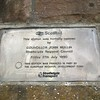 Plaque at Paisley Canal to mark the re-opening of the line in July 1990. It is just to the West of the original Paisley Canal station.