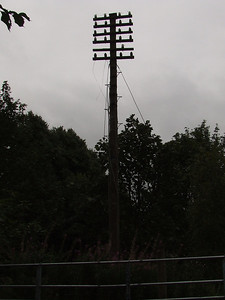 Telegraph pole on the bridge above Paisley West station site where the Paisley West Signal Box was