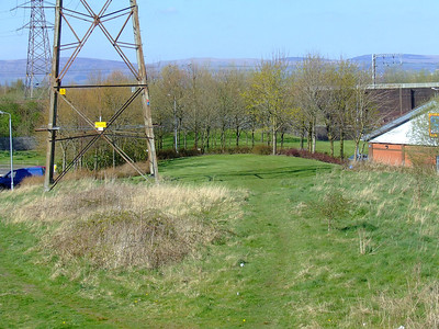 Looking down on the site of Ferguslie Station from the trackbed of the Paisley Canal Line