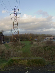 Ferguslie Station site as seen from the Paisley Canal line, now part of the National Cycle network. This was where the bridge crossed the Paisley & Barrhead District Railway.