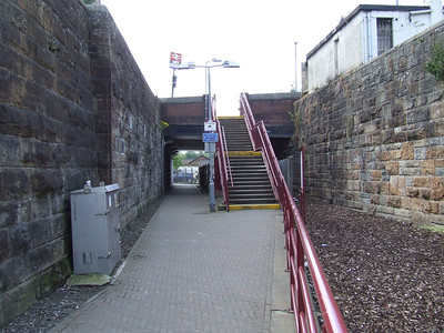 Slightly to the West of the current Paisley Canal Station, with the Paisley Canal Street station obscured by the stairs going up to Causeyside Street. This is where the trackbed begins, and sits on what was the Paisley Canal Line as far as Elderslie