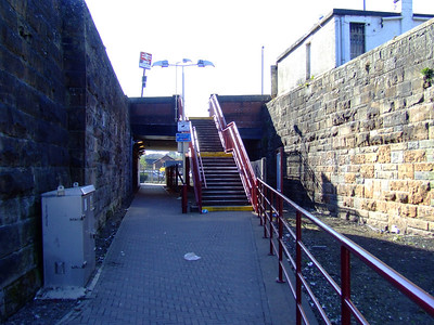 Looking West from Paisley Canal station towards the original Paisley Canal Street station which is under the bridge at Causeyside Street
