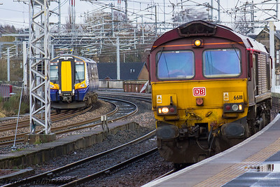 66111 DBS (EWS livery) 380102 Scotrail Paisley Gilmour Street 18/02/2016