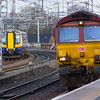 66111<br /> DBS (EWS livery)<br /> 380102<br /> Scotrail<br /> Paisley Gilmour Street<br /> 18/02/2016