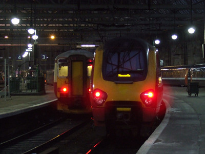221135 of CrossCountry at P2 to form a service to Newcastle with 156433 The Kilmarnock Edition in the background