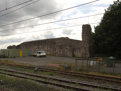 Remains of Berwick Castle, adjacent to the station. It was partially demolished in 1847 to make way for the station, something typical of Victorian times where nothing was allowed to stand in the way of progress. In front of the castle is the location of the station's goods yard. The Great Hall where Robert The Bruce's claim to the Scottish Crown was rejected in 1292 (in favour of John Baliol by Edward I) stood where the station stands.