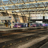 153359 arriving at Carlisle at the front of a Class 158 with a service from Leeds drawing up to 153332 at P6