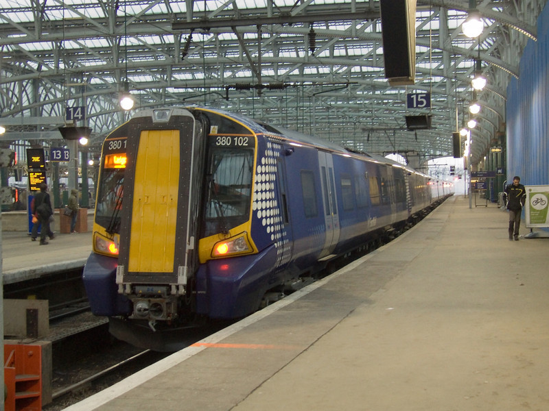 380102 at the head of a Class 380 set at Glasgow Central