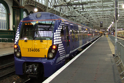 334006 at P14 with a service for Ardrossan Town resplendent in it's new ScotRail blue colours