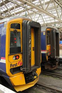 158740 at P4 waiting to depart to Whifflet and 156453 at P5