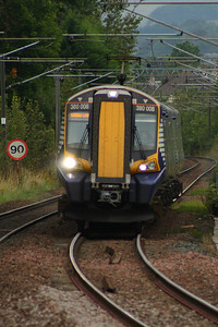 380008 drawing into Johnstone on a Glasgow Central service