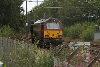 67019 passing through Elderslie on 0D79 from Mossend to Irvine Paper Mill to then form 6D80 taking China Clay Tanks to Mossend