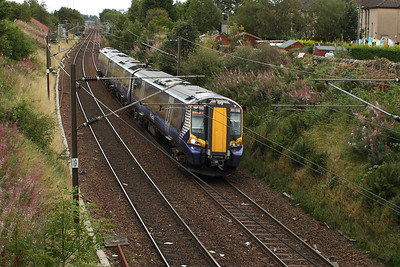 380010 passing through Elderslie on an Ardrossan Harbour service