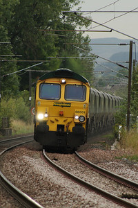 66551 climbing the hill towards Johnstone with 6E71 taking coal from Hunterston to Cottam PS