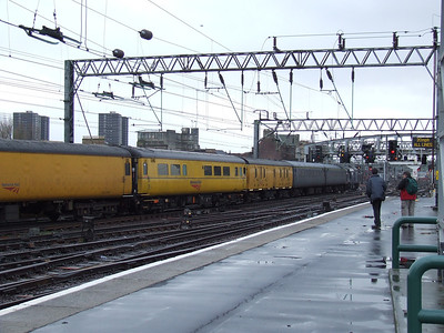 The coaches of the Network Measurement Train with 37605 at the rear