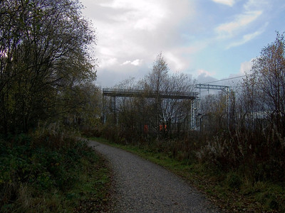 Approaching Elderslie East Junction from the Paisley Canal Line, now a cycle track with engineering work going on