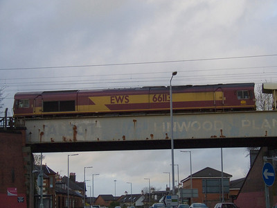 66113 sitting on the bridge at Linwood Toll waiting to be called forward with a ballast train.