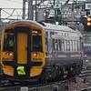 158710 departs on a service to Edinburgh Waverley