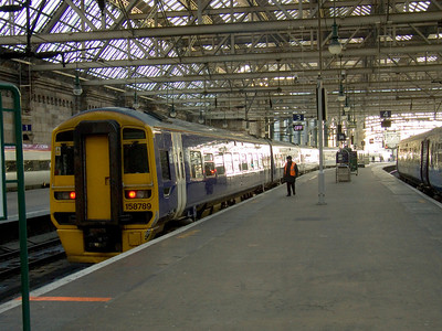 158789 at the rear of a service waiting to depart to Edinburgh Waverley