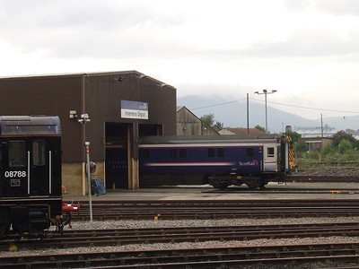 Caledonian Sleeper Mark 3 coaches being readied at Inverness Depot for the trip South later that evening