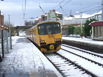 Track assessment unit 950001 passing through Johnstone heading West after a heavy snowfall