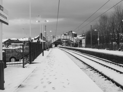 Looking east at Johnstone after a heavy snowfall