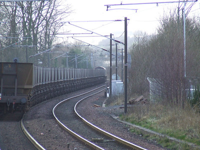 66068 passing through Johnstone at the head of an empty coal train bound for Hunterston