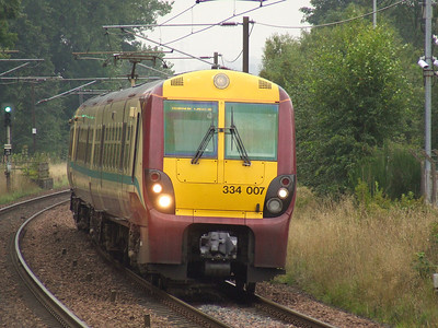 334007 drawing into Johnstone on a service to Glasgow Central
